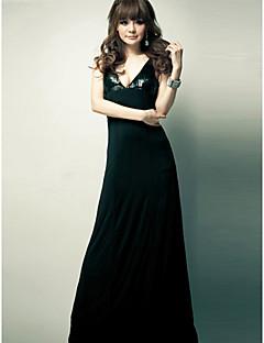 Holiday Lady V Neck Milk Silk Formal Dress