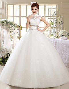 Ball Gown Wedding Dress Floor-length High Neck Satin / Tulle with Appliques / Beading / Sash / Ribbon