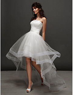 LAN TING BRIDE Ball Gown Wedding Dress Little White Dress Asymmetrical Strapless Tulle with Ruche Side-Draped