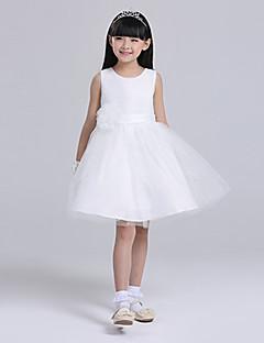 A-Lijn Knie-Lengte Bloemenmeisje jurk - Satijn/Tule Mouwloos