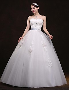 Ball Gown Wedding Dress - White Floor-length Sweetheart Organza