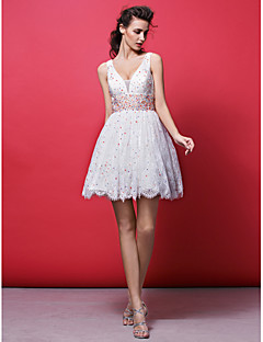 Homecoming Cocktail Party Dress - Ivory Ball Gown V-neck Short/Mini Lace