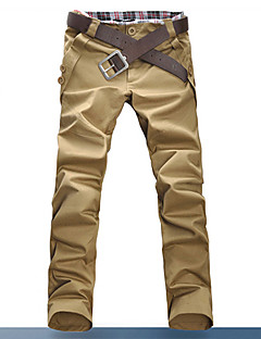 Men's Black/Brown/Blue Pure Color Cotton Casual Long Pants(5 Colors)