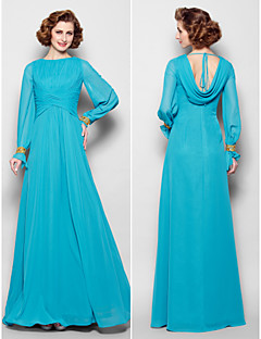 Lanting A-line Plus Sizes / Petite Mother of the Bride Dress - Jade Floor-length Long Sleeve Chiffon