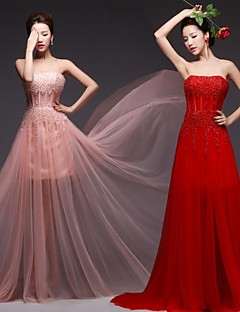 Formal Evening Dress - Ruby / Pearl Pink Plus Sizes Ball Gown Strapless Floor-length Tulle