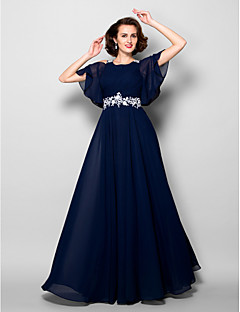 Lanting A-line Plus Sizes / Petite Mother of the Bride Dress - Dark Navy Floor-length Short Sleeve Chiffon