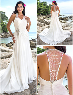 Lanting Bride® Sheath / Column Petite / Plus Sizes Wedding Dress - Chic & Modern / Elegant & Luxurious Open Back Chapel Train V-neck