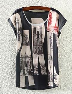De las mujeres Floral Camiseta-Escote Redondo-Algodón-Manga Corta