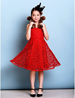 Knee-length Lace Junior Bridesmaid Dress - Ruby A-line V-neck