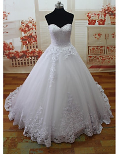 A-line Wedding Dress Vintage Inspired Court Train Sweetheart Lace / Tulle with