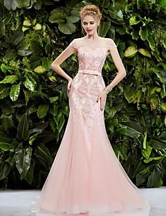 Fiesta formal Vestido - Rosa Corte Sirena Barrer / cepillo tren - Escote Joya Tul