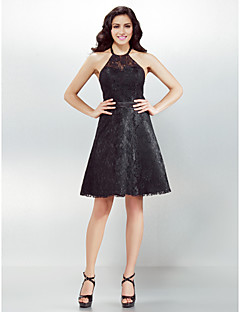 Homecoming Cocktail Party Dress - Black A-line Halter Knee-length Lace