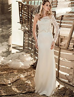 Wedding Party Dress A-line One Shoulder Floor-length Lace/Satin Dress