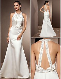 Lanting trombita / sellő plusz méretű menyasszonyi ruha - elefántcsont söprés / kefe vonat ékszer szatén
