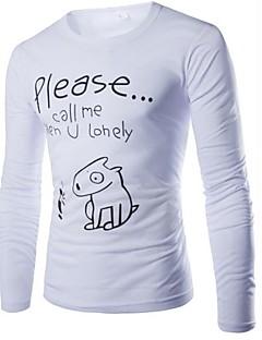 Men's Casual Print Pure Long Sleeve Long T-Shirts (Cotton Blends)