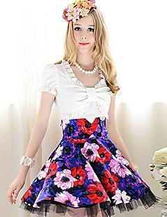 여성의 솔리드 짧은 소매 셔츠,귀여운 데이트 블루 / 화이트 폴리에스테르 / 스판덱스 여름 중간