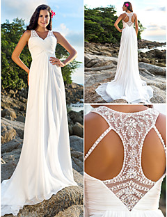Lanting A-line Petite / Plus Sizes Wedding Dress - Ivory Court Train V-neck Chiffon