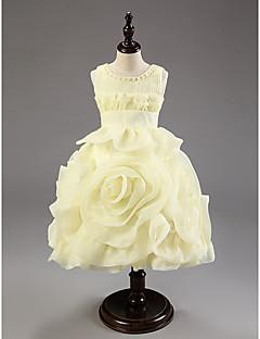 Flower Girl Dress Knee-length Cotton/Organza Ball Gown Sleeveless Dress