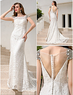 Lanting Sheath/Column Plus Sizes Wedding Dress - Ivory Court Train Bateau Charmeuse/Sequined/Stretch Satin