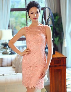 Homecoming Dress Sheath/Column Bateau/Strapless Short/Mini Satin Evening Dress