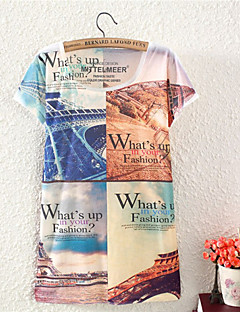 婦人向け ラウンドネック フラワー Tシャツ , コットン 半袖