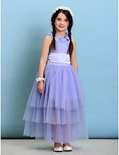 Ball Gown Ankle-length Flower Girl Dress - Tulle/Charmeuse Sleeveless