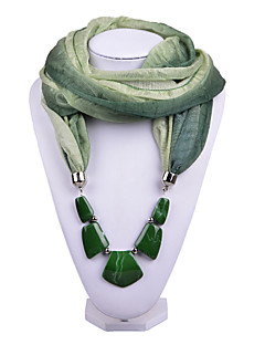 D Exceed  Vintage Women Gradient Design Infinity Ring Cyan Scarves Voile Scarf with Irregular Stone Beads Pendant Scarfs