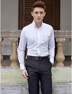 חולצה - צווארון כפתור 'למטה' - Yksivärinen - שרוולים ארוכים (לבן , כותנה/פוליאסטר)