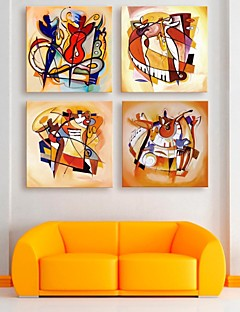 E-HOME® Stretched Canvas Art The Player Decoration Painting Set of 4