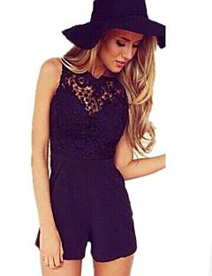 Frauen solid weiß / schwarz kurzen Overalls, runden Spitzen Ansatz sleeveless backless