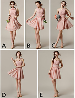возвращение на родину до колен шифона платье невесты - жемчуг розовый A-Line одно плечо / V-образным вырезом / высокая шея / ремни / возлюбленной