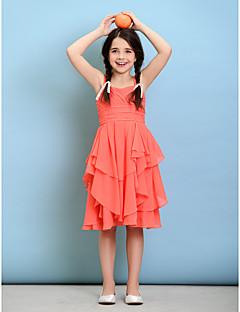 A-line Straps Knee-length Chiffon Junior Bridesmaid Dress (2050574)