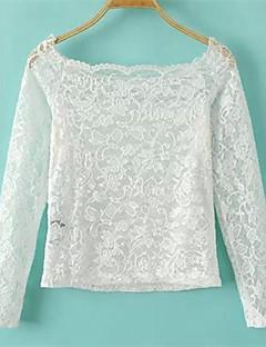 여성의 레오파드 보트넥 긴 소매 티셔츠,심플 캐쥬얼/데일리 레드 / 화이트 / 블랙 폴리에스테르 봄 얇음