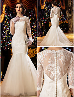 Lanting Bride Trumpet/Mermaid Petite / Plus Sizes Wedding Dress-Sweep/Brush Train Scoop Lace
