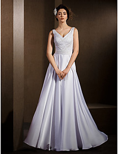 Lanting Bride A-line Petite / Plus Sizes Wedding Dress-Floor-length V-neck Satin Chiffon