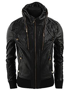 Martin Men's Fashion Korean Slim Stand Collar Coat Leather Clothing