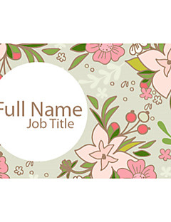 Business Cards 200pcs White Purple Pink Flower Pattern 2 Sided Printing of Fine Art Filmed Paper