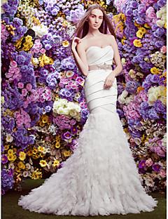 lanting mariée lanting ajustement& robe de mariée flare - cour d'ivoire de train sweetheart satin / tulle