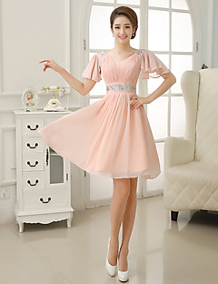 Knee-length Chiffon Bridesmaid Dress - A-line V-neck with Sequins / Pleats