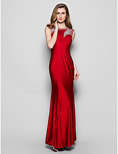 Sheath/Column Mother of the Bride Dress - Burgundy Floor-length Sleeveless Jersey