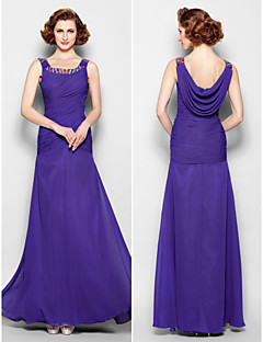 Lanting Bride Sheath / Column Plus Size / Petite Mother of the Bride Dress Floor-length Sleeveless Chiffon withBeading / Crystal