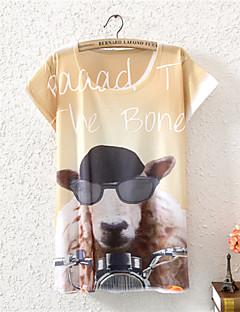 Kortærmet Kvinders Blomst Rund hals T-shirt Bomuld