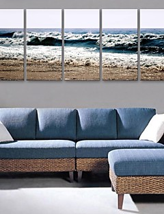 E-HOME® Stretched Canvas Art Sea Wave Decorative Painting Set of 5