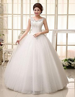Ball Gown Wedding Dress-Floor-length Straps Lace
