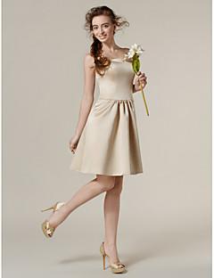 Knee-length Satin Bridesmaid Dress - Champagne Plus Sizes / Petite A-line / Princess Strapless