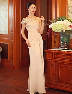 Dress Sheath/Column Bateau Floor-length Satin/Silk Evening Dress
