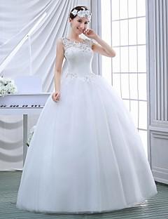 שמלת כלה -נשף עד הריצפה-עם תכשיטים-תחרה