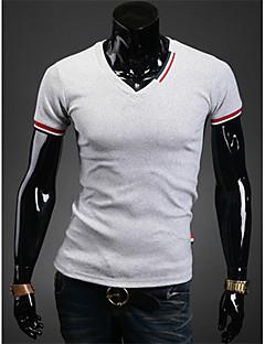 Vintage/Informell/Party/Business V-Ausschnitt - Kurzarm - MEN - T-Shirts ( Baumwolle/Kunstseide )