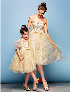 Cocktail Party Dress - Champagne Ball Gown Sweetheart Knee-length Sequined