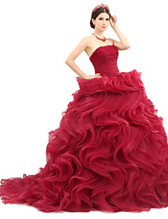 Formal Evening Dress Ball Gown Strapless Sweep / Brush Train Organza / Tulle / Charmeuse with Ruffles / Sash / Ribbon / Ruching